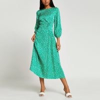 RIVER ISLAND Green printed side ruched maxi dress ~ womens long sleeve gathered detail dresses