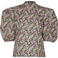 River Island Green short puff sleeve poplin floral top