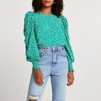 River Island Green spot print puff sleeve blouse top   draped balloon sleeve blouses