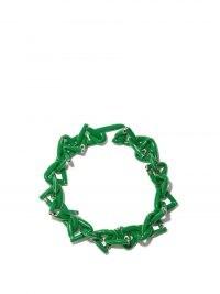 BOTTEGA VENETA Triangle-chain green enamel & sterling-silver necklace / women's chunky statement necklaces