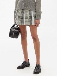 THOM BROWNE Pleated windowpane-check wool-twill skirt / checked pleat detail high low hem mini skirts