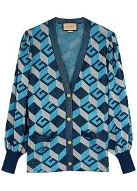 GUCCI GG-intarsia metallic-weave cardigan | women's retro cardigans | vintage style knitwear