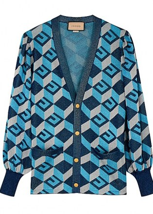 GUCCI GG-intarsia metallic-weave cardigan   women's retro cardigans   vintage style knitwear - flipped