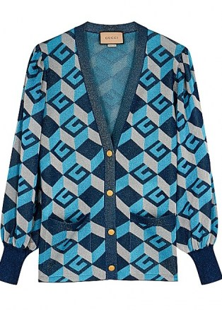 GUCCI GG-intarsia metallic-weave cardigan   women's retro cardigans   vintage style knitwear