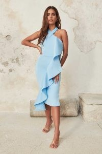 LAVISH ALICE halter cross neck scuba dress in baby blue ~ women's party dresses with oversized ruffle trim ~ evening halterneck bodycon with statement frill ~ womens glamorous going out fashion