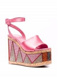 Retro platform wedges   HAUS OF HONEY bead-embellished wedge sandals   pink women 70s vintage style platforms   bead embellished high wedged heels   barbie sandals