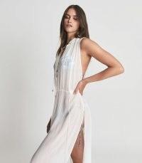 Reiss HAVANNA RESORT SLEEVELESS SHIRT DRESS WHITE | thigh high split beach dresses | glamorous sheer cover up | pool fashion | womens poolside glamour | slit hem
