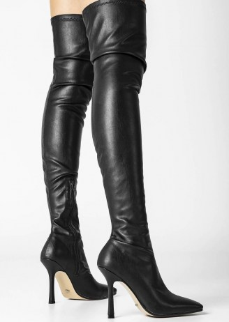 Tony Bianco Holli Black Venezia Long Boots | over the knee | thigh high stiletto heel boot - flipped