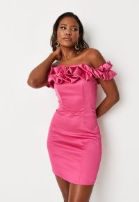 Missguided hot pink ruffle bandeau satin mini dress | ruffled off the shoulder party dresses | barbot necklines