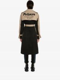 Alexander McQueen Hybrid McQueen Graffiti Trench Coat   women's cool coats   womens designer outerwear   slogan prints   modern classic fashion