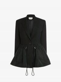 Alexander McQueen Hybrid Parka Peplum Jacket | womens romantic full hem jackets | women's designer outerwear