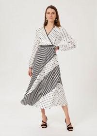 HOBBS IMOGEN SPOT STRIPE DRESS / long sleeve mixed print flared hem dresses / womens occasion fashion / women's occasionwear / event wear / spots and stripes