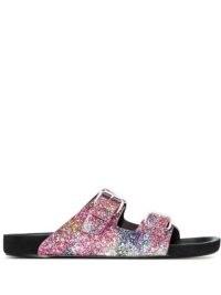 Isabel Marant Lennyon sequinned flat sandals | women's glittering multicoloured slides