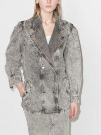 Isabel Marant Étoile washed double-breasted denim jacket | women's casual grey jackets