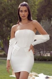 Club L London IVORY BARDOT CORSET DRAPE FRONT MINI DRESS | strapless fitted bodice going out dresses