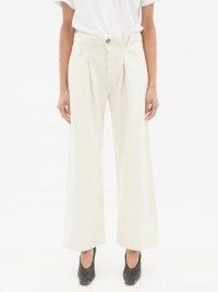 RAEY Fold organic-cotton baggy boyfriend jeans ~ ivory denim ~ oversized wid leg