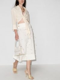 Jacquemus Blé beaded high-waisted skirt – luxe side cut-out bead embellished linen skirts