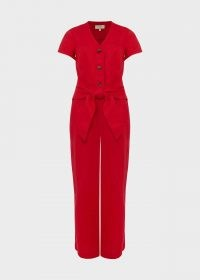HOBBS JAYNE LINEN CROPPED JUMPSUIT / red tie waist crop leg jumpsuits / women's summer fashion / womens all in one