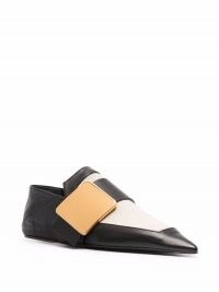 Jil Sander two-tone leather pointed toe slippers