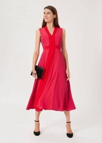 HOBBS JILLY COLOURBLOCK V NECK DRESS / womens occasion dresses / colour block event wear / sleeveless fit and flare midi