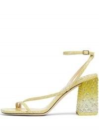 Jimmy Choo Art 85mm block-heel sandals in sunbleached yellow – star studded ombre block heels