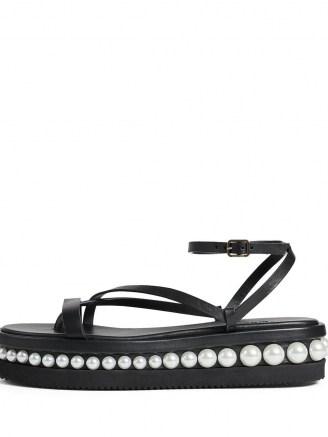 Jimmy Choo Pine platform flat sandals ~ strappy faux pearl trim flats - flipped