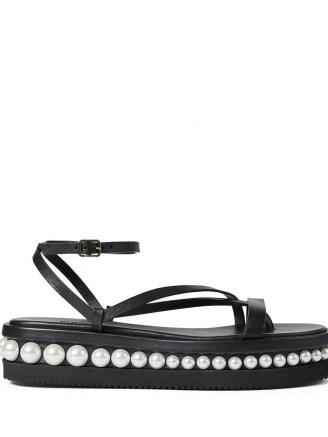 Jimmy Choo Pine platform flat sandals ~ strappy faux pearl trim flats