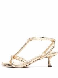 Jimmy Choo gold strap-detail open-toe sandals / strappy metallic low heel sandal / womens glamorous shoes / women's occasion