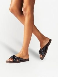 Jimmy Choo Tropica snake-print flat sandals – black gathered knot front flats