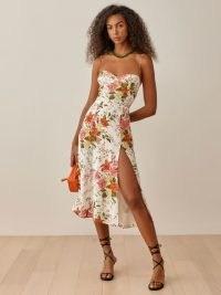 Reformation Juliette Dress in Tropique | thigh high split hem summer dresses | spaghetti strap fashion | strappy | floral | sweetheart neckline