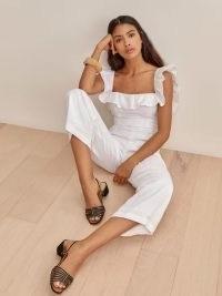 REFORMATION Juniper Linen Jumpsuit in White / ruffle trim tie back summer jumpsuits