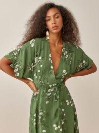 REFORMATION Karen Dress in Lomita / green floral lightweight georgette dresses