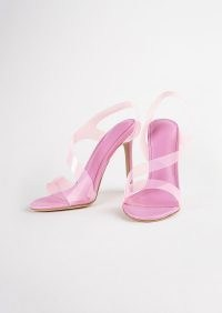 TONY BIANCO Kaya Musk Vinylite/Musk Nappa Heels ~ pink clear strap slingback sandals