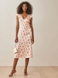 REFORMATION Kaye Dress in Audrey / cap sleeve silk charmeuse floral slip dresses