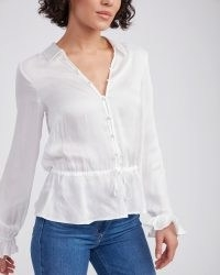 PAIGE Kendalle Top White | womens feminine tops | ruffled cuffs | women's peplum hem blouse