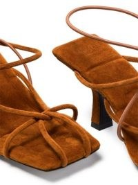 Khaite Monza 70mm suede sandals in caramel-brown / strappy square toe sandal