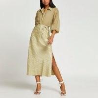RIVER ISLAND Khaki bias tie waist maxi skirt / side split animal print skirts