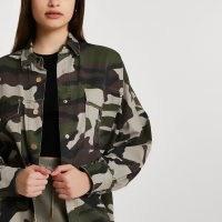 RIVER ISLAND Khaki long sleeve camo utility overshirt / women's camouflage overshirts / oversized shirts