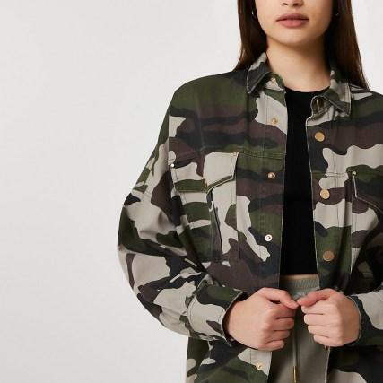 RIVER ISLAND Khaki long sleeve camo utility overshirt / women's camouflage overshirts / oversized shirts - flipped