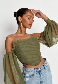 Missguided khaki puff sleeve bust point corset top | womens green strapless ruched bodice tops | sheer balloon sleeves | women's on trend fashion