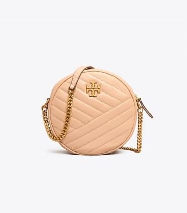 Tory Burch KIRA CHEVRON CIRCLE BAG / circular chain strap bags / round crossbody - flipped