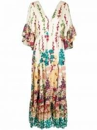 La Doublej Bella flared maxi silk dress – long floaty floral tiered dresses