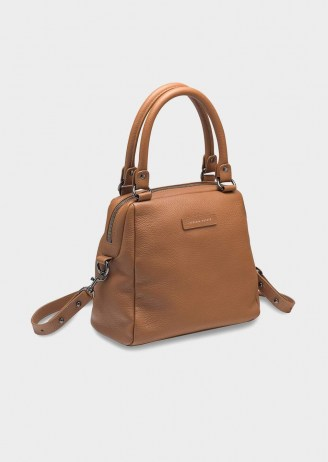 Tony Bianco Last Mountains Tan Cross Body Bag | light brown crossbody bags | top handle handbags - flipped