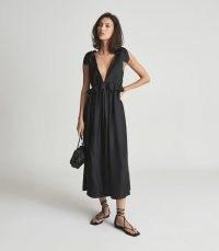 Reiss LAURA SILK BLEND MIDI DRESS BLACK | plunge front summer dresses | frill detail fashion | womens feminine style clothing | plunging neckline