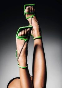 TONY BIANCO Lazaar Lime Nappa Heels ~ green strappy chain detail sandals ~ ankle strap square toe
