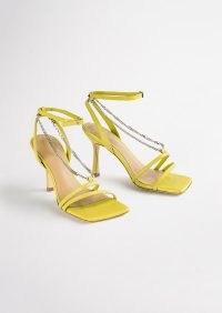 TONY BIANCO Lazaar Yellow Nappa Heels – strappy square toe chain detail sandals