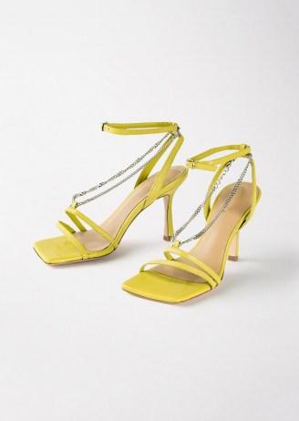 TONY BIANCO Lazaar Yellow Nappa Heels – strappy square toe chain detail sandals - flipped