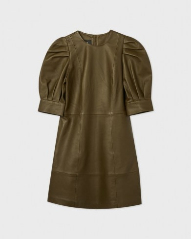 TED BAKER LUATA Leather Puff Sleeve Mini Dress – luxe green dresses - flipped