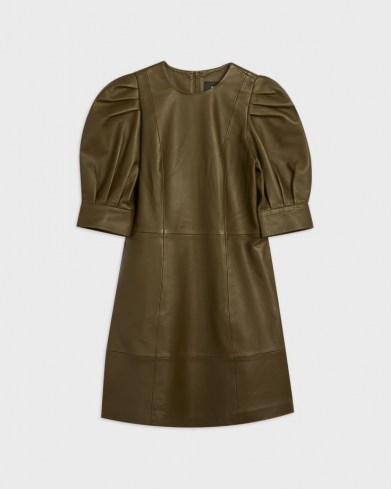 TED BAKER LUATA Leather Puff Sleeve Mini Dress – luxe green dresses