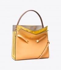 Tory Burch LEE RADZIWILL DOUBLE BAG Jackfruit | chic colour block handbag | luxe colourblock handbags | square shaped top handle bags | womens accessories